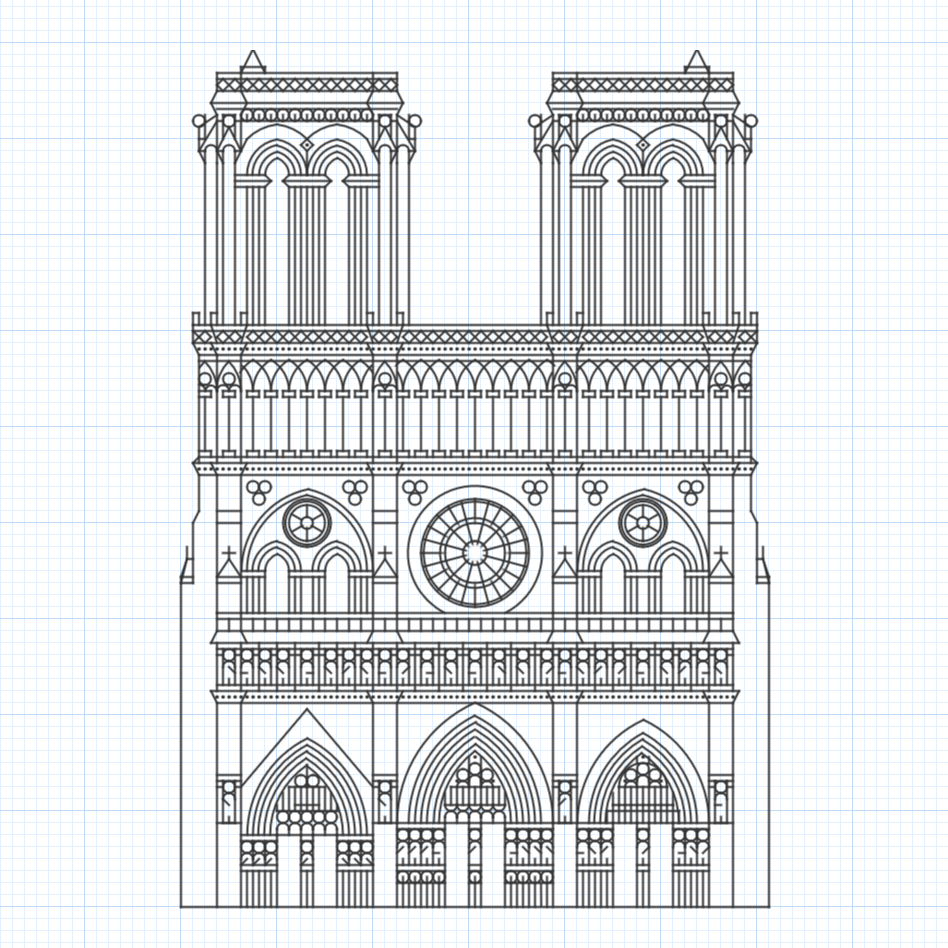 Example graph paper drawing of Notre-Dame cathedral